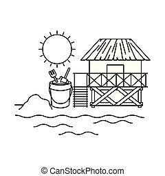 casa madeira, praia, silueta