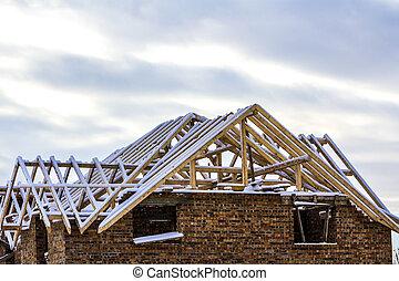 casa madeira, quadro, telhado, construção, durante, novo, trabalhos