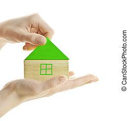casa madeira, verde, bloco
