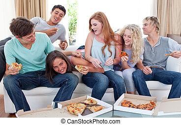 casa, mangiare, adolescenti, pizza