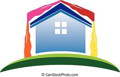 casa, mani, per, beni immobili, logotipo, vettore