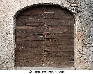 casa, manico, vecchio, legno, serratura, medievale, battente porta