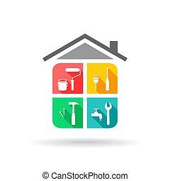 casa, manutenção, ícones