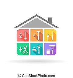 Appartamento set items illustrazione vettore for Aprire piani casa concetto