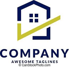 casa, marchio, assegno, logotipo