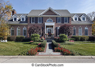 casa, mattone, lusso, colonne