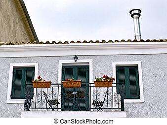 casa, mediterrâneo, terraço, sacada
