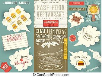 casa, menú, mantel individual, plantilla, hamburguesa