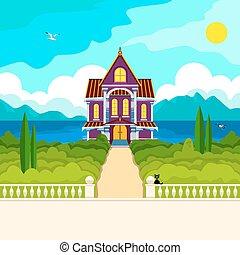 casa, meridionale, paesaggio
