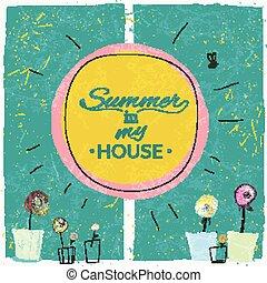 casa, mi, verano