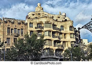 Casa Mila, Antonio Gaudi. Barcelona landmark, Spain.