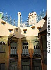 Casa Mila, Barcelona - Inner courtyard by Gaudi