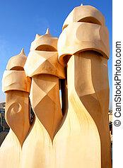 Casa Mila by Antoni Gaudi - roof top - Barcelona - Famous ...