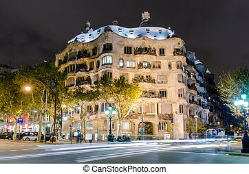 casa mila, dans, barcelone, espagne