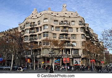Casa Mila in Barcelona - BARCELONA, SPAIN - 30 DECEMBER,...