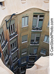 Casa Mila - View from above on the casa mila in Barcelona