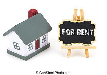 casa, miniatura, affitto, lavagna, text:, modello