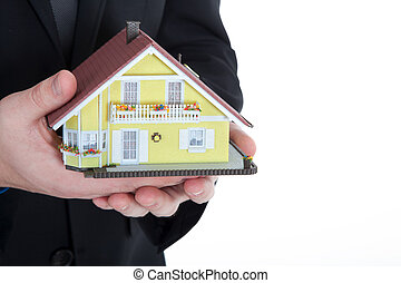 casa, miniatura, presa a terra, uomo affari
