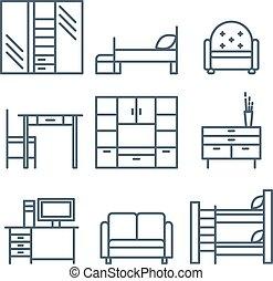 casa, mobilia, icone, set