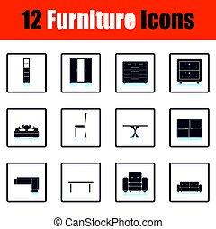 casa, mobilia, set, icona