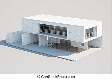 casa, mock-up., moderno
