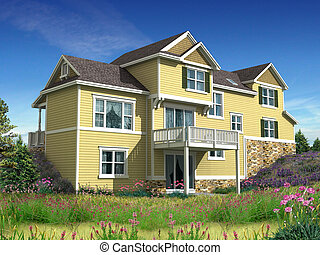casa, modelo, 3d