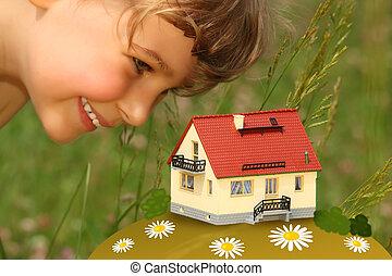 casa, modelo, al aire libre, miradas, niño