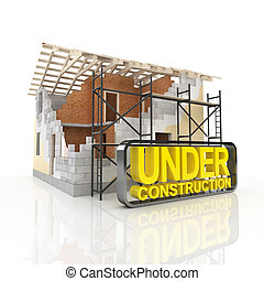 casa, modelo, arquitetura
