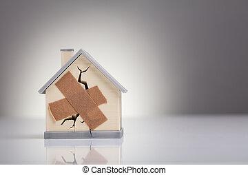 casa, modelo, cruzado, ayuda, banda