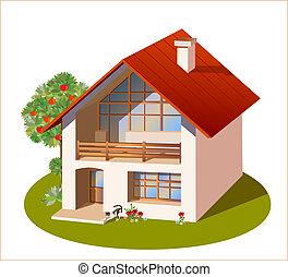 casa, modelo, dimensiones, familia , tres