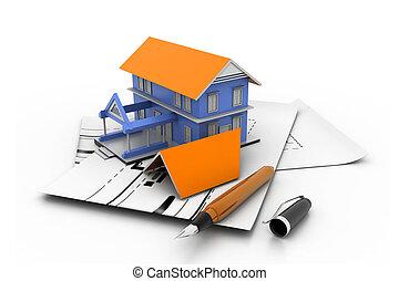 casa, modelo, en, un, plan