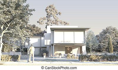 casa, modelo, luxo, arquitetura