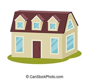 casa, moderno, attic., vector, gris, illustration.