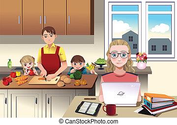 casa, moderno, famiglia