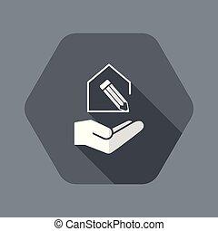 casa, moderno, progetto, design-, minimo, icona