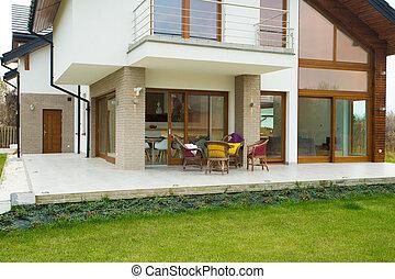 casa, moderno, terrazzo, costoso
