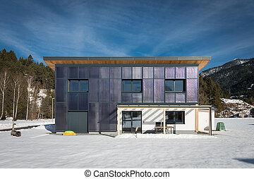 casa, modernos, aquecimento, auto-suficiente, sol, painéis
