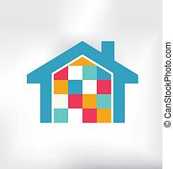 casa, modernos, logotipo