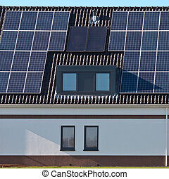 casa, modernos, solar, painéis