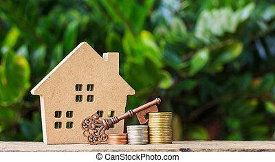 casa, moedas., pilha, tecla