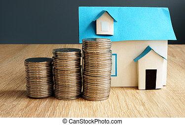 casa, monete., proprietà, modello, value.