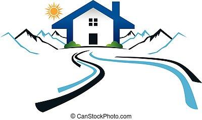 casa, montagne, con, strada, logo., vettore, disegno