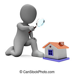 casa, mostrando, inspeccionar, personagem, procurar, olhar, ...