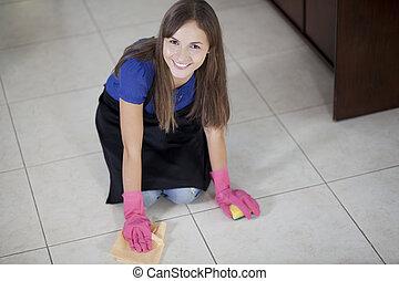 casa, mujer, limpieza, feliz