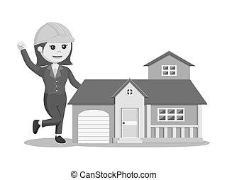 casa, mujer, réplica, ingeniero