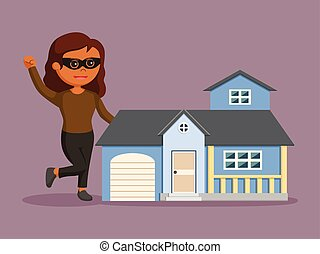 casa, mujer, réplica, ladrón, africano
