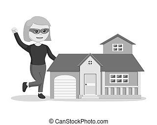 casa, mujer, réplica, ladrón
