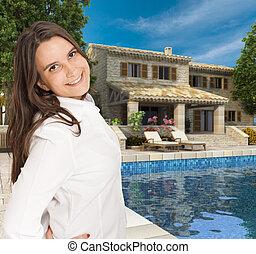 casa, mulher, luxo, jovem