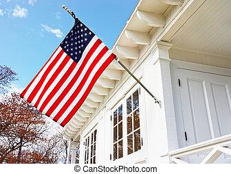 casa, museu, bandeira, gancho, americano, luz, arenoso