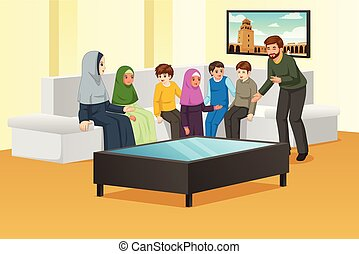 casa, musulmano, famiglia, felice